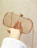 Women Evening Bag Metal All Seasons Event/Party Party & Evening Club Baguette Magnetic Gold