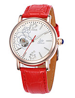 Damen Modeuhr Mechanische Uhr Quartz Automatikaufzug Leder Band Weiß Rot Lila