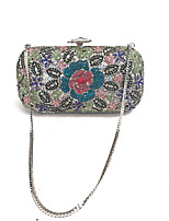 Women Vintage Floral Clutches Evening Bags Coverd with Grade A Glass Stone