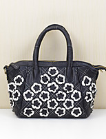 Women Shoulder Bag Cowhide All Seasons Shell Flower Zipper Black/White Rainbow