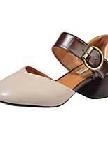 Women's Loafers & Slip-Ons Leatherette Summer Fall Buckle Chunky Heel Beige Gray Light Brown 1in-1 3/4in