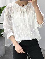 Women's Casual/Daily Simple Spring Summer Shirt,Solid V Neck ½ Length Sleeve Linen Thin