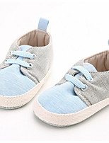 Baby Flats First Walkers Fabric Spring Fall Casual Outdoor Walking First Walkers Magic Tape Low Heel Blue Flat