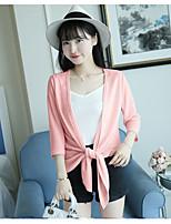 Women's Casual Regular Cardigan,Solid Shirt Collar Half Sleeve Cotton Summer Fall Medium Micro-elastic