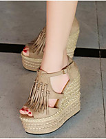Women's Heels Comfort Suede Spring Casual Khaki Red Black Flat