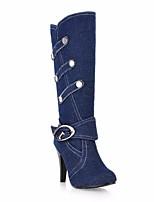 Для женщин Ботинки Удобная обувь Полотно Весна Повседневный Черный Темно-синий Синий На плоской подошве
