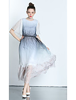 ZIYI Women's Going out Casual/Daily Beach Simple Chiffon Swing DressPrint Round Neck Midi Short Sleeve Polyester Summer Mid Rise Micro-elastic