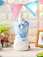 Chien Combinaison-pantalon Vêtements pour Chien Décontracté / Quotidien Mode Uni Jaune Bleu