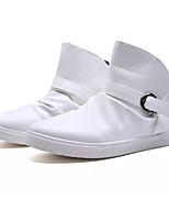 Men's Sneakers Comfort PU Spring Fall Outdoor Flat Heel Black White Under 1in