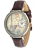 Жен. Модные часы Кварцевый Кожа Группа Винтаж Коричневый