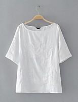 T-shirt Da donna Per uscire Casual Sensuale Semplice Moda città Estate,Ricamato Rotonda Cotone Manica corta Sottile Medio spessore