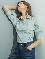 Chemise Femme,Couleur Pleine Quotidien Décontracté simple Col de Chemise Coton