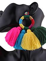 Femme Boucles d'oreille gitane Métissé Coton/Lin Forme Ronde Bijoux PourMariage Soirée Occasion spéciale Anniversaire Fête/Soirée