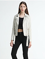 Women's Going out Beach Holiday Vintage Sexy Fall Leather Jacket,Solid Shirt Collar Long Sleeve Regular Others