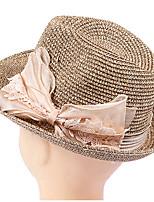 UV Sunshade Bowknot Cap Summer Straw Hat Folding Beach Hat