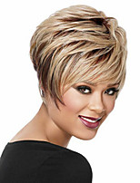 Short Wavy  Synthetic Hair  Wigs  Brown Blonde Mix Color Women Wigs Heat Resistant Wig