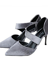 Women's Sandals Comfort Nubuck leather Spring Casual Comfort Gray Black Flat