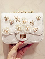 Women Shoulder Bag PU All Seasons Event/Party Casual Date Flap Flower Magnetic Black White