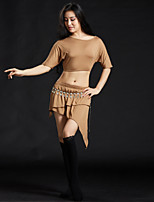 Belly Dance Outfits Women's Training Modal Sequin 4 Pieces Half Sleeve Dropped Skirts Tops Belt Shorts