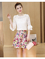 Women's Casual/Daily Simple Summer Blouse Dress Suits,Floral Round Neck Short Sleeve
