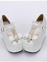 Lolita Shoes Sweet Lolita Classic/Traditional Lolita Lolita Princess Platform Solid Polka Dot Lolita 10 CM White ForPU