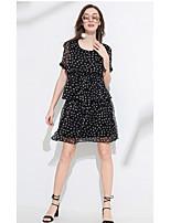 MEIDONGTAI Women's Casual/Daily Sheath DressGeometric Round Neck Above Knee  Length Sleeve Organic Cotton Summer Low Rise Micro-elastic Medium