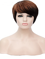 Capless  Synthetic  Woman  Brown Black Mixed Short Straight  Hair Wigs
