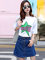 Women's Casual/Daily Simple Summer T-shirt,Letter Round Neck Short Sleeve Cotton