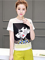 Women's Casual/Daily Cute Summer T-shirt Pant Suits,Print Round Neck Short Sleeve