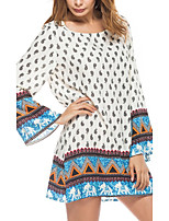 Women's Going out Beach Holiday Sexy Vintage Boho Loose DressGeometric Color Block Round Neck Mini Long Sleeve Loose Spring Fall Mid Rise