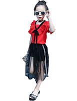 Mädchen Sets Einheitliche Farbe Druck Sommer Ganzjährig Frühling Kurzarm Kleidungs Set