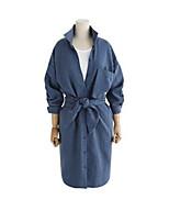 Damen Solide Einfach Ausgehen Lässig/Alltäglich Arbeit Hemd,Hemdkragen Frühling Langarm Baumwolle Mittel