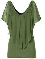 Women's Going out Casual/Daily Simple Blouse,Solid Round Neck ½ Length Sleeve Polyester