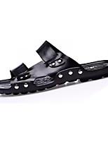 Men's Slippers & Flip-Flops Comfort Cowhide Summer Casual Comfort Flat Heel Brown Black Flat