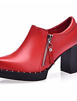Для женщин Обувь на каблуках Формальная обувь Дерматин Весна Осень Формальная обувь На толстом каблуке Черный Красный Более 12 см
