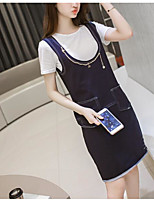Women's Casual/Daily Street chic T-shirt Dress Suits,Solid Round Neck Short Sleeve Micro-elastic