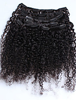 Malaysian Kindy Curly Human Hair Clip In Hair Extensions Virgin Hair 7 Pieces/Set Natural Color 120g/set