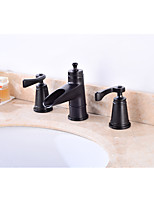 Contemporary Widespread Widespread with  Ceramic Valve Two Handles Three Holes for  Oil-rubbed Bronze , Bathroom Sink Faucet