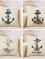 Set Of 4 Creative Vintage Boat Anchor Printing Pillow Cover Cotton/Linen Pillow Case 45*45Cm