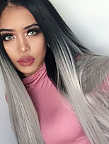 Ombre T1B/Sliver Grey Color Synthetic Lace Front Wigs Straight Hair Heat Resistant Fiber Hair Wig for Woman