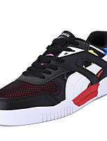 Men's Sneakers Comfort PU Spring Fall Outdoor Lace-up Flat Heel Black/Red Navy Blue White Flat