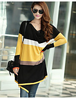 Women's Simple Long Cardigan,Color Block V Neck Long Sleeve Cotton Fall Thin Micro-elastic