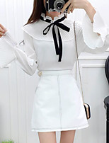 Women's Casual/Daily Simple Summer T-shirt Skirt Suits,Solid Asymmetrical Long Sleeve Micro-elastic