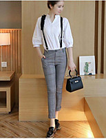 Women's Daily Modern/Contemporary Fall T-shirt Pant Suits,Solid Stand 3/4-Length Sleeve Micro-elastic