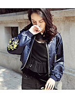 Women's Casual/Daily Simple Spring Leather Jacket,Floral Round Neck Long Sleeve Regular Polyester
