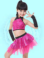 Latin Dance Kid's Polyster Sequin 4 Pieces Sleeveless Dropped Skirts Tops Sleeve