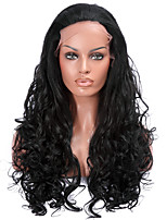 Black Color Synthetic Lace Front Wigs Loose Wave Heat Resistant Fiber Hair Wig for Woman