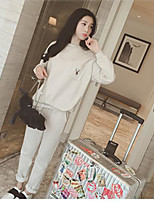 Women's Casual/Daily Simple Summer T-shirt Pant Suits,Solid Round Neck Long Sleeve