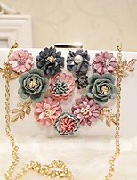 Women Evening Bag PU All Seasons Wedding Event/Party Party & Evening Date Baguette Flower Magnetic Peachblow Blushing Pink White