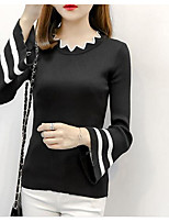Women's Casual/Daily Simple Regular Cardigan,Striped Round Neck Long Sleeve Cotton Summer Fall Medium Micro-elastic